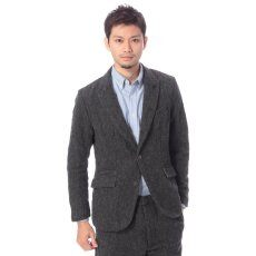 Shetland Linen Tweed 5-button Jacket 11010312000230: Charcoal