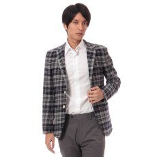 Harris Tweed Plaid 3-button Jacket 11010320240130: Grey