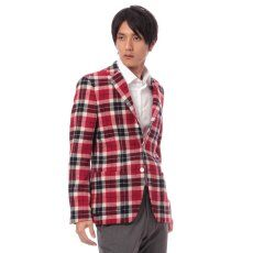 Harris Tweed Plaid 3-button Jacket 11010320240130: Red