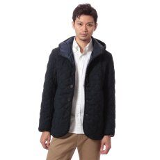 Edifice Moon Tweed Hooded Quilted Blouson 11011300101730: Navy