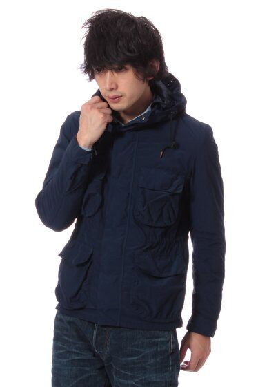 Overdyed Hooded Short Jacket 11011300300130: Navy