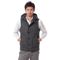 Wool Hooded Quilted Vest 11011312001930: Grey