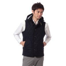 Wool Hooded Quilted Vest 11011312001930: Navy