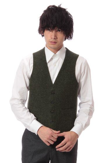 Harris Tweed Vest 11011320240030: Green