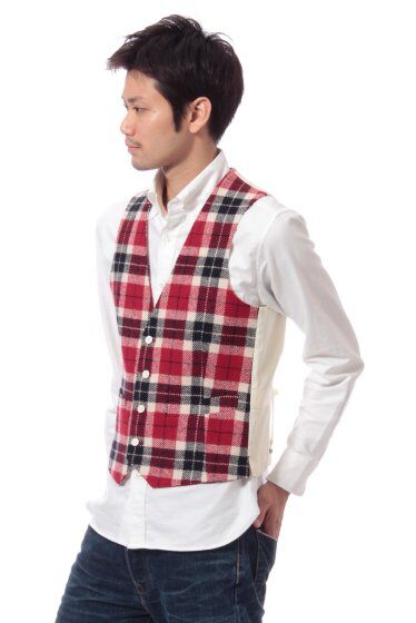Harris Tweed Plaid Vest 11011320240130: Red
