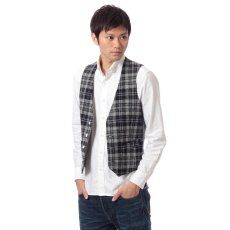 Harris Tweed Plaid Vest 11011320240130: Grey