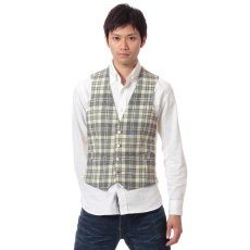 Harris Tweed Plaid Vest 11011320240130: Natural