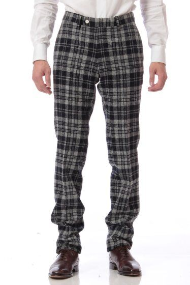 Harris Tweed Plaid Plain Front Pant 11030320240130: Grey