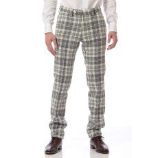 Harris Tweed Plaid Plain Front Pant 11030320240130: Natural