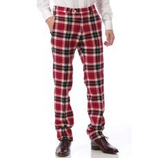 Harris Tweed Plaid Plain Front Pant 11030320240130: Red