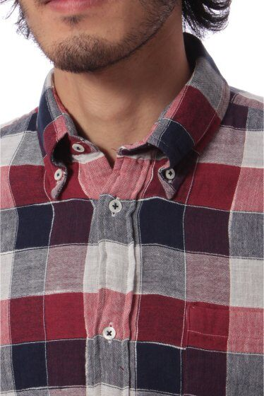 Top Double Cloth Buttondown Shirt 11050640039030: Red