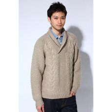 Hand Knitted Shawl Collar Pullover 11080470500030: Beige