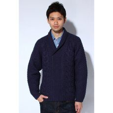 Hand Knitted Shawl Collar Pullover 11080470500030: Navy