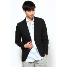 French Linen 2-button Jacket 12010312000410: Black