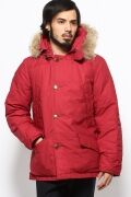 Wax Coated Cotton Polar Parka 12011470102030: Red