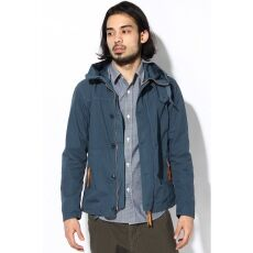 High Micro Brushed Cotton Hooded Blouson 12011600804010: Blue