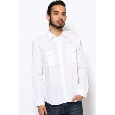 French Linen Military Shirt 12050312000110: White