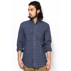 Indigo Cotton Linen Buttondown Shirt 12050470114010: Navy