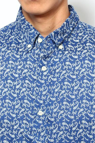 Linen Flower Print Buttondown Shirt 12050600620110: Navy