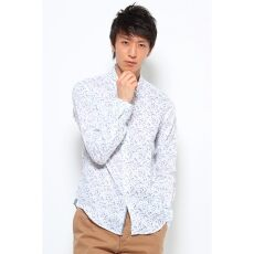 Linen Flower Print Buttondown Shirt 12050600620110: White