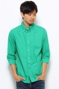 7/10 Sleeve Garment Dyed Oxford Buttondown Shirt 12051300001010: Green