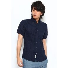 Short Sleeve Irish Linen Buttondown Shirt 12051470108010: Navy