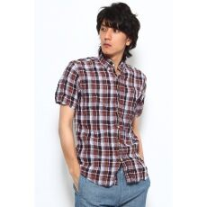 Short Sleeve Linen Madras Buttondown Shirt 12051470123010: Navy