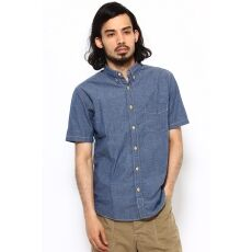 Short Sleeve Dungaree Buttondown Shirt 12051470143010: Blue