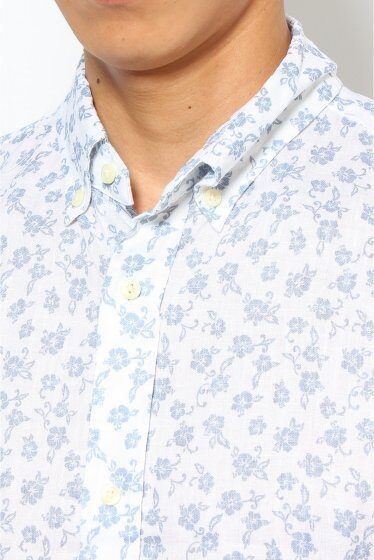 Short Sleeve Linen Flower Print Buttondown Shirt 12051600635010: Blue B