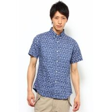 Short Sleeve Linen Flower Print Buttondown Shirt 12051600635010: Navy