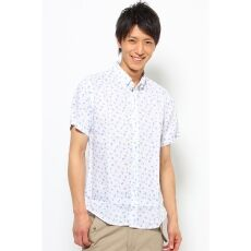 Short Sleeve Linen Flower Print Buttondown Shirt 12051600635010: Blue